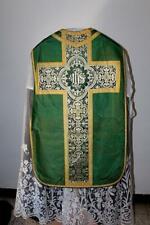 Chasuble Romaine de prêtre verte en satin de soie XIXe Siècle