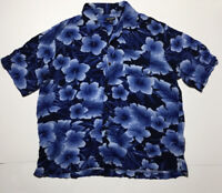 Men's George Rayon Hawaiian Aloha Short Sleeve Shirt Blue Floral Size XL