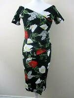 Fever Fish dress size 12 bodycon black red white large floral stretchy pretty