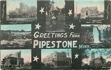 Pipestone Minnesota~City Scenes~Quarry~Church~Library~Downtown~Black Back~1910