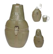 GERMAN ARMY WATER BOTTLE + CUP + INSULATED COVER + STRAPS green canteen flask