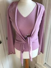 LAUREL Pink Beaded Twinset. Silk/cashmere Size 36