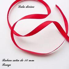 2 mètres de ruban satin largeur de 10 mm (1 cm)  Couleur : Rouge