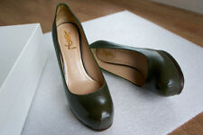 YVES SAINT LAURENT High-Heels in Road Green, leather, size 39 (UK 6)