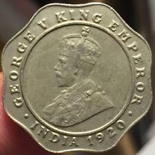 British India 1920 C 4 Annas Coin - High Grade Sharp Details - Please See Pics