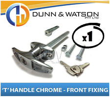 Chrome Plated Front Fixing 'T' Lock / Handle (Trailer Caravan Canopy Toolbox) x1