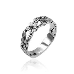 Handmade BALI Frangipani Floral BAND Ring in 925 Sterling Silver - New  #S09