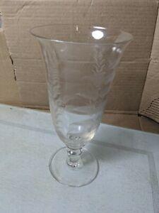 Lovely Vintage Celery Glass Flower Vase Etched