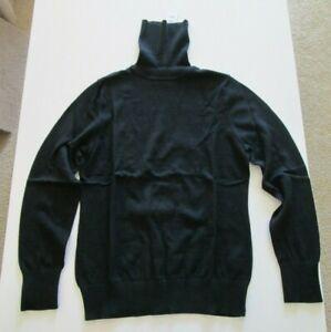 NWT L.L. Bean Women's Cotton/Cashmere Sweater, Turtleneck, Black, Small