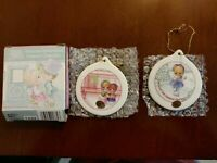 """PRECIOUS MOMENTS - 2001 CHRISTMAS REMEMBERED 3"""" PORCELAIN ORNAMENTS - SET OF 2"""