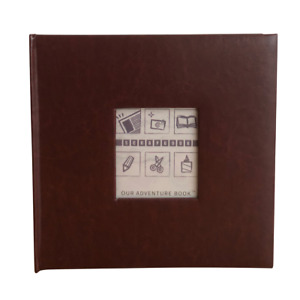 """Leather Scrapbook with Picture Window, DIY Photo Album, 10.5""""x10.5"""", Brown"""