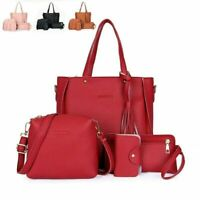 4PCS/Set Women Handbag Satchel Leather Lady Shoulder Bag Tote Purse Messenger