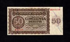 F.C. 50 PESETAS 1936 , SERIE H , EBC- , CON TODO SU APRESTO , 3 DOBLECES VERTIC