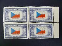 USA 1943 #910 $.05 Occupied Nations Issue (Czechoslovakia) Block of 4 MNH VF