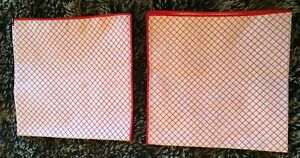 """2 Red & White Fabric Napkins 16"""" x 16"""" - New No Tags"""