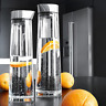 1L/1.5L Round Glass Water Bottle Stainless Lid Glass Carafe for Water Juice Wine