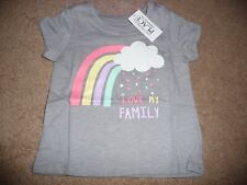 New Nwt Childrens Place girls 9-12 months Love My Family rainbow/heart shirt