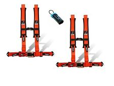 """Dragonfire Safety Seat Belts Harness Pair 4 Point 2"""" Bypass Orange Polaris CanAm"""
