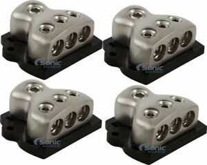 4) Rockford Fosgate RFD4 0/1/4-Gauge Car Audio Distribution Blocks 1-In 3-Out