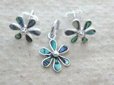 925 STERLING SILVER small FLOWER Paua Shell ABALONE Earrings Pendant - TEEN GIRL