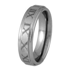 New Mens 6mm Roman Numeral Tungsten Carbide Band Ring Jewellery Uk Sizes P-Z+2