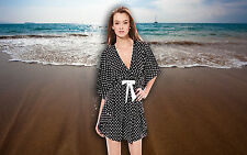 "NWT GOTTEX ""TEA AT 3"" POLKA DOT BAT-WING TUNIC BATHING SUIT COVER UP SZ - SMALL"