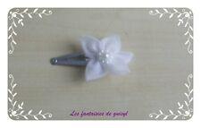 Barrette petite fleur organza blanche,mariage/soirée