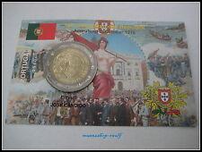 """2 euro conmemorativa Portugal 2010 en coincard/info mapa"""" 100 años República"""""""