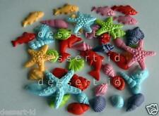 60 mermaid bright  starfish sealife PRINCESS edible sugar multicolour shells