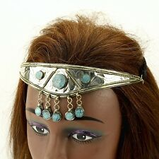 SILVERPLATED Turquoise Stone CROWN Tribal Wedding HEADPIECE Belly Dance 619m2