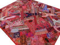 Grand dessus de lit Rouge Couvre-lit Tapisserie Patchwork Fait main Inde Boho O2