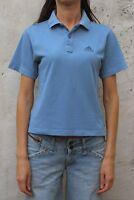 Adidas Womens Top Vintage 80s Blue Grey Polo Short Sleeve Shirt M Medium