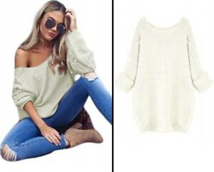 Sexy Jumper Batwing Sweater with Pearls Tops Ladies Womens Knitted size 10 12