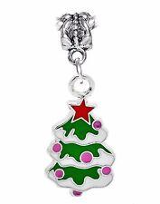 Christmas Tree Green Red Pink Enamel Holiday Dangle Charm for European Bracelets
