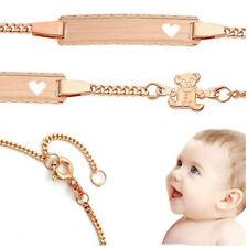 Baby Herz Armband mit Teddy Bär mit Gravur Namen und Datum Silber 925 Rosè Gold
