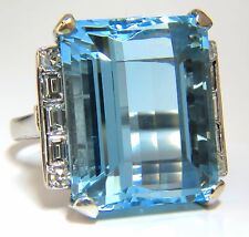 "GIA Certified 33.44ct Natural ""Blue"" Aquamarine diamonds ring Vivid+"