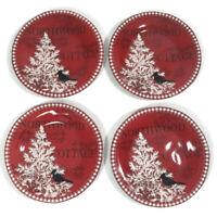 222 Fifth Northwood Cottage 4 Dessert Plates Rim Shape Christmas Bird in Tree