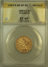 1883-S Liberty $5 Half Eagle Gold Coin ANACS EF-40 Details