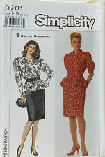 Vtg 1990 Simplicity Pattern #9701 Misses Dress Slim Skirt Size (6-14)
