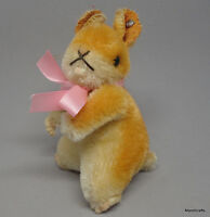 Steiff Goldy Hamster Mohair Plush 10cm 4in ID Button Swivel Head 1960s Vintage