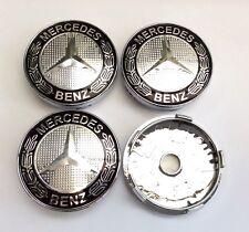 4x Black Wheels Centre Caps for Mercedes-Benz 60 MM outer , 55 mm clips diameter