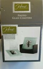 Home Elements 4 pc Picture Photo Glass Coasters & Wood Box House Decor New