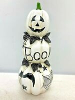 Halloween Black and White Stacked Boo Pumpkins figurine BOO