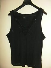 Ellen Tracy Stretchy Black Evening Top with Beading (Size XXL) - BNWOT