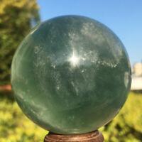 335g Natural Clear Green Fluorite Quartz Crystal Sphere Ball Healing