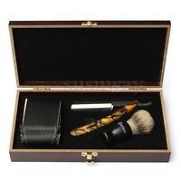 Black Cut Throat Straight Razor W/ Shaving Brush Strop Wooden Box Gift Kit Set