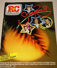 TV RADIOCORRIERE=1982/4=SPECIALE FESTIVAL SAREMO STORY=DARYLL HALL JOHN OATES=