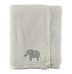 "Carter's Unisex Baby Plush Elephant Applique Crib Blanket; Cream (30"" X 40"")"