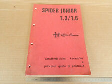 MANUALE ORIGINALE 1973 ALFA ROMEO GIULIA SPIDER 1.3 1.6 JUNIOR