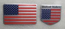 """2 USA Flag Aluminum Sticker 3D Patriotic 3 1/8"""" x 1 7/8"""" and 2"""" x 2"""" Emblem NEW"""